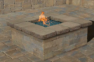Pre-Packaged Cambridge Olde English Square Gas Fire Pit Kit