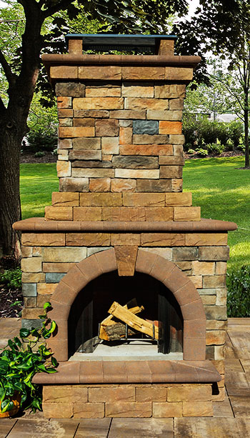 Stone Veneer Outdoor Fireplace