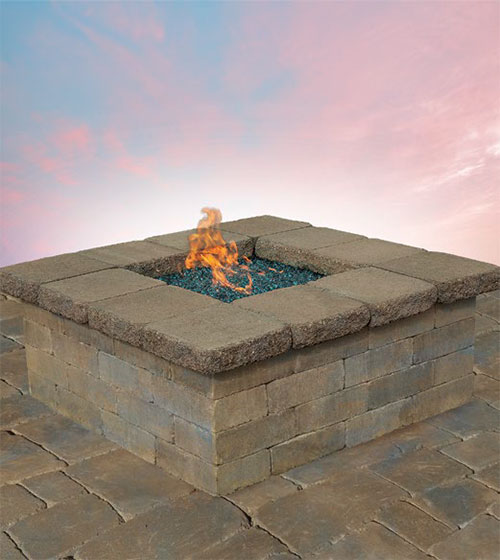 Pre-Packaged Olde English Round Gas Fire Pit Kit
