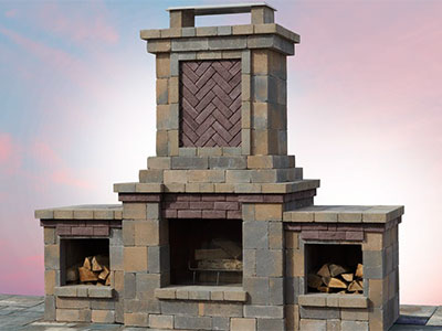 The Berkshire Fully-Assembled Wood-Burning Outdoor Fireplace