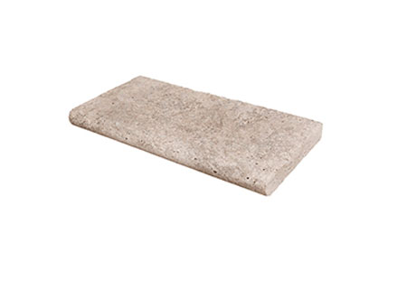 Travertine Bullnose Tread<br>24 wide, 12 deep, 2 thick